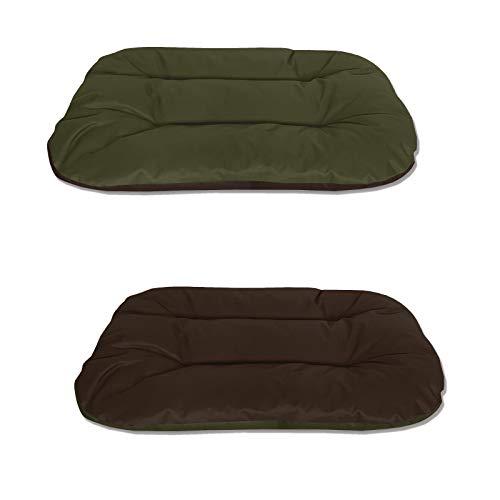 BedDog® 2in1 Hundebett REX, L, grün-braun, Wende-Hunde-Kissen oval-rund, großes Hundekörbchen, waschbares Hundebett, Hundesofa für drinnen, draußen