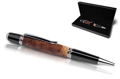Handgefertigter Kugelschreiber aus Echtholz | Hochwertiges Geschenkset mit Etui | Business Geschenk Set aus Edel Holz für Mitarbeiter und Kunden (Weinrebe)