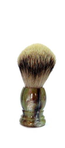 Golddachs Blaireau, 100%, vert de manche plastique marron, rasage Argenté