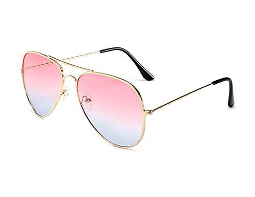 QWKLNRA Gafas De Sol para Hombre Marco Dorado Lente Rosa Gafas De Sol Deportivas Polarizadas Gafas De Sol Graduadas De Moda Hombres Y Gafas De Sol contra-UV Mujer Gafas De Sol Coloridas Retro Tenden