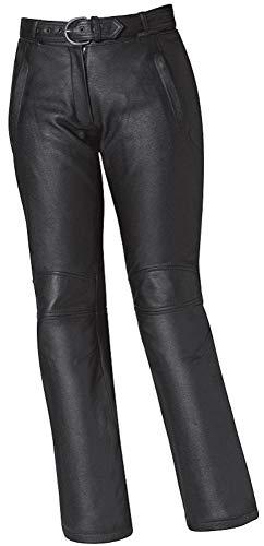 SunnyTrade Held motorbroek Gina - lederen jeans 100% zacht rundleer - 2 buitenzakken - applicaties van zwarte glassteen - knopen aan de band voor het vastzetten van bretels