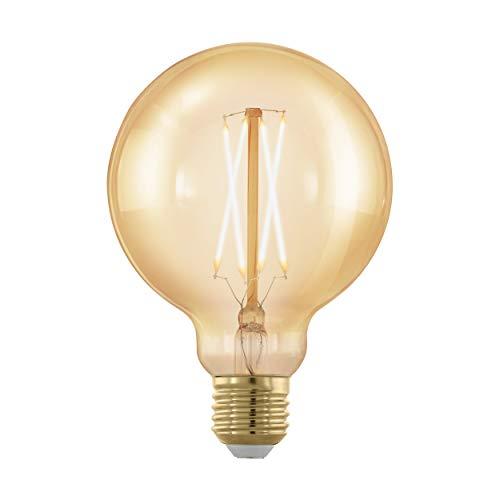 EGLO LED E27 dimmbar, Golden Vintage Glühbirne, LED Globe für Retro Beleuchtung, 4 Watt (entspricht 30 Watt), 320 Lumen, E27 LED warmweiß, 1700 Kelvin, LED Leuchtmittel, Edison Glühbirne G95, Ø 9,5 cm