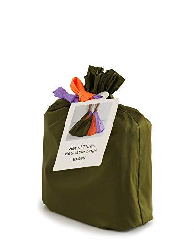 BAGGU Wiederverwendbare Einkaufstasche, Ripstop-Nylon, Einkaufstasche oder Lunchtasche 3er-Pack: Wiese
