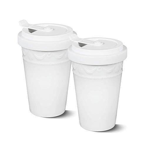 KURLAND to-Go Becher Porzellan von KPM Berlin - Kaffeebecher to-Go - Tee to-Go - Handmade & als Geschenk verpackt - das umweltfreundliche Stil-Statement für Kaffee & Tee - Weiß Duo-Set