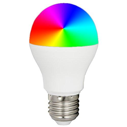 Mi-Light 6W RGBWW Smart WiFi LED-Glühlampe E27,RGB+CCT Farbwechsel, Farbtemperatur einstellbar,Fernbedienung,Wandpanel und iBox-Hub für die Smartphone APP-Steuerung,alles ist separat erhältlich-EINWEG