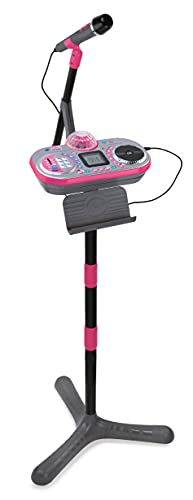 VTech Kidi Super Star DJ, Kids Microphone Toy with Songs and Sound Effects, Microphone and Adjustable Stand, Microphone for Kids with Colour Changing Disco Light, Musical Toy with Games, 6 Years +