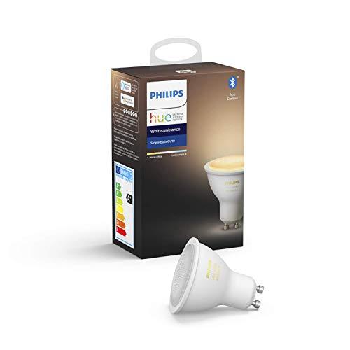 """Philips Hue White Ambience GU10 LED Lampe Einzelpack, dimmbar, alle Weißschattierungen, steuerbar via App, kompatibel mit Amazon Alexa (Echo, Echo Dot), Gerät """"Zertifiziert für Menschen"""""""