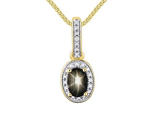 Rylos Einfach eleganter schöner schwarzer Sternsaphir u. Diamant-Anhänger/Halskette - März-Geburtsstein