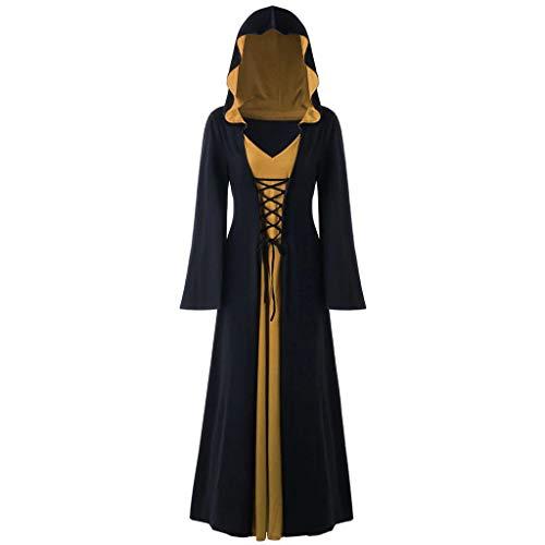 Tosonse Vestidos con Capucha Vintage para Mujer Vestido Largo De Patchwork con Cordones para Cosplay Gótico Medieval Disfraces De Halloween