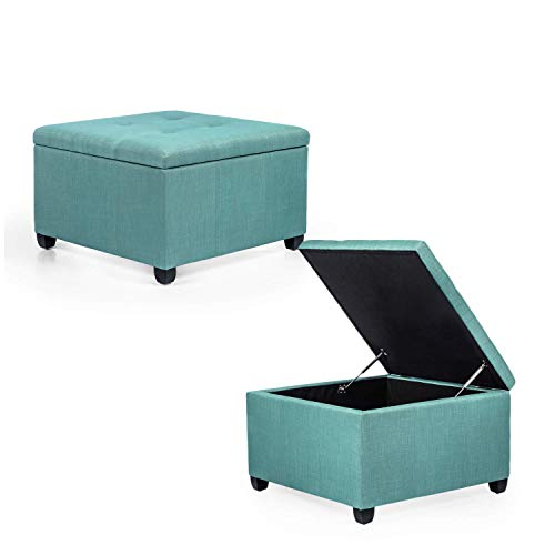 Adeco Chest and Footrest – Classic Square Seat Storage Ottomans, Blue