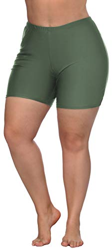 ATTRACO Womens Plus Size Swim Shorts Tummy Control Swimwear Bottoms Olive Green 0X