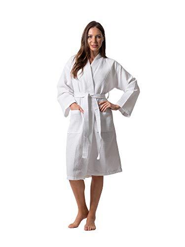 Premium Turkish Cotton Waffle Weave Lightweight Kimono Spa Bathrobe for Women (White, Small)