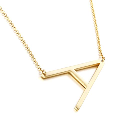 Joycuff Gold Necklaces for Women Large Letter Pendant Initial from A to Z 26 Alphabets 18K Gold Jewelry Birthday Gifts for Daughter Teen Girls Mom Sisters Best Friend Gold
