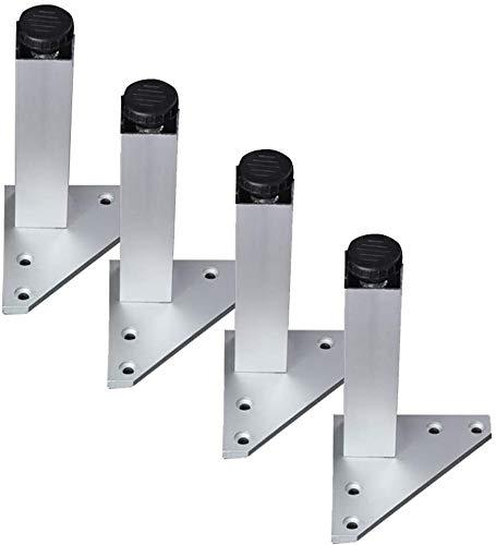 Yubingqin Piernas de aleación de aluminio para muebles, patas de soporte de sofá ajustables, capacidad de carga de 600 kg, plata, 4 unidades, altura de 6 cm a 40 cm (color: B, tamaño: 10 cm)