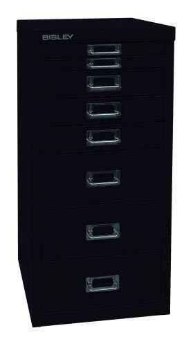 BISLEY MultiDrawer, 29er Serie, DIN A4, 8 Schubladen, Metall, 633 Schwarz, 38 x 27.9 x 59 cm