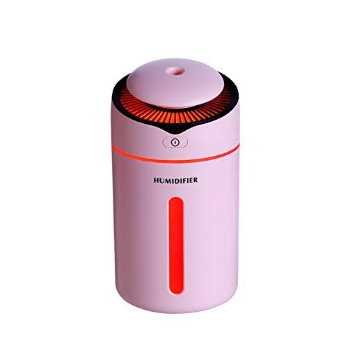 Sdvklly Humidificadores para el hogar Lindas 4 Colores Coche ultrasónico Humidificador de Aire Mistal de Niebla Tipo de Filtro de algodón Difusor Luz de Noche 300ml Atomizador USB (Color : Pink)