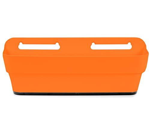 Ondis24 Balkonkasten PLAYMOOD mit Wasserspeicher, 9L Pflanzvolumen, Pflanzkübel, Blumentopf, Balkon Terrasse, Wandhalterung (Orange)