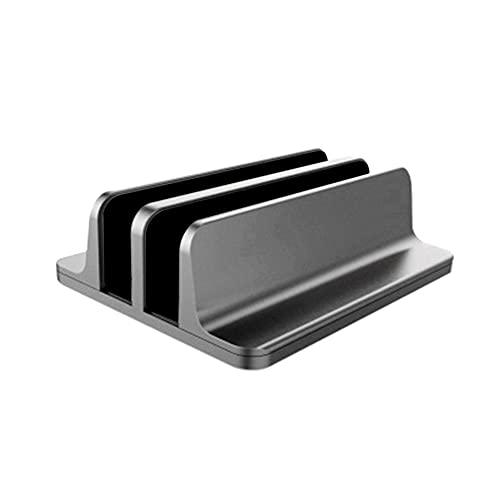 jwj Soporte para ordenador portátil con doble ranuras vertical de aleación de aluminio para tableta, libro de escritorio, suministros de computadora nottable (color: gris)