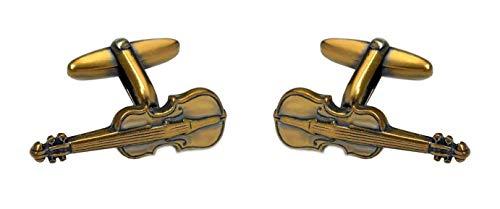 Unbekannt Manschettenknöpfe Kontrabaß vergoldet matt geschwärzt Patina-Style m.i. Germany plus schwarzer Exklusivbox