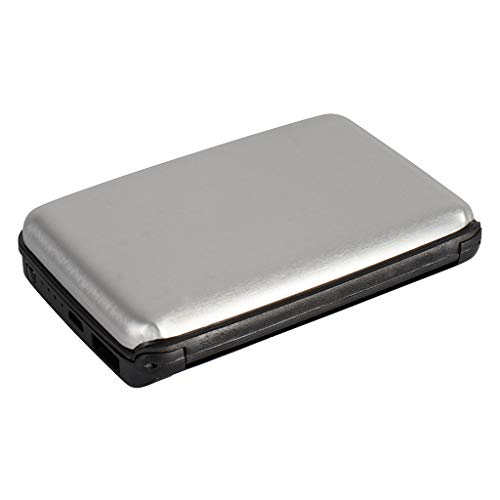 Kreditkartenetui aus Aluminium mit powerbank   blockiert RFID und NFC   Kartenhüllen aus Aluminium   Powerbank 1800mAh   2 IN 1 Kartenetui und Powerbank … (Grau)