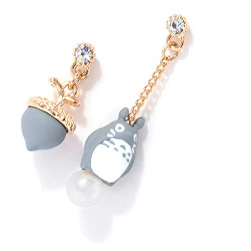 Onlyfo Asymmetrical Totoro and Acorn Tonari No Totoro Stud Earrings with Jewelry Box,Tonari No Totoro Earrings for Women,Girls (Gray)