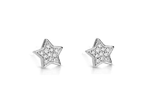 Mothers Day Jewelry Gift Sale 0.25 Ct Real Diamond Star Shape Stud Earring for Mother Women in 925 Sterling Silver (0.25 Ct Diamond Star)