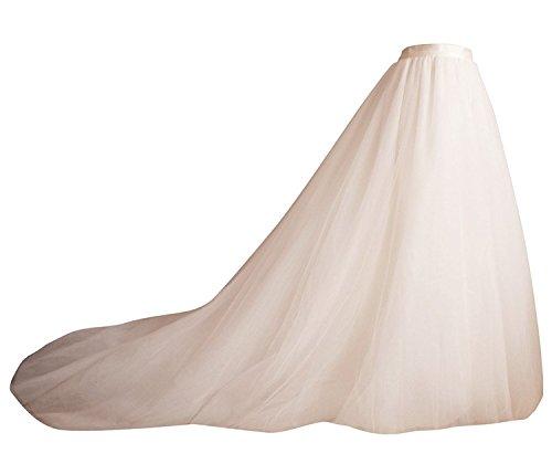 Izanoy Damen Lange Retro Maxi Tüll Rock Brautkleider Unterrock Überrock Weiß Large