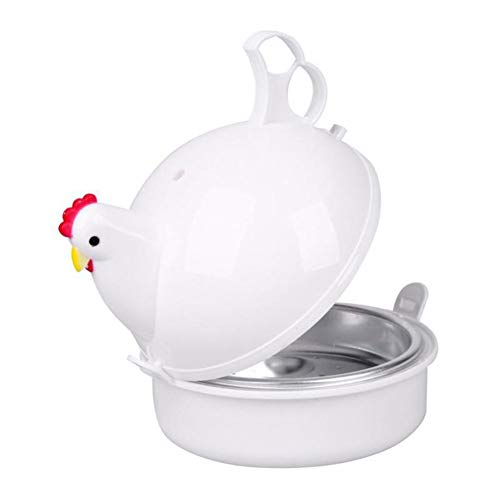 Magnetron Egg Stropers Chicken Shape eierkoker RVS Boiler Steamer voor 4 eieren Egg Tool Koken van de Keuken Gadgets