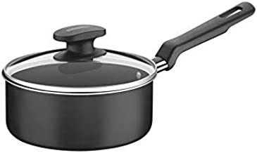 Tramontina 20383018 Non-stick 18cm Sauce Pan with Tempered Glass Lid Loreto Black