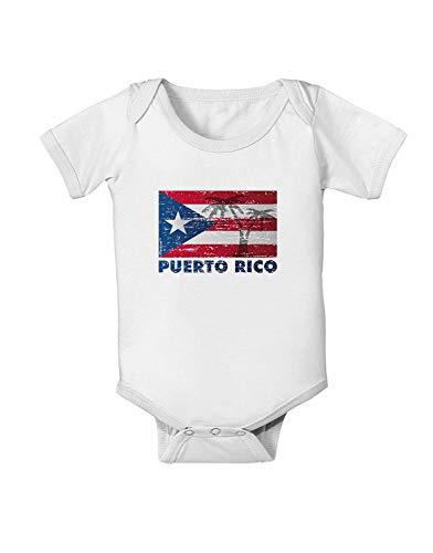 Mono para bebé con Bandera de Puerto Rico, Envejecido Blanco Blanco 3-6 Meses