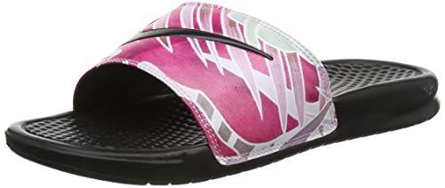 Nike Women's Benassi Slide Sandals Black/Black-Active Fushcia Size 9