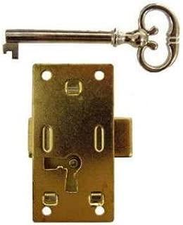 Medium Brass Plated Flush Mount Lock for Cabinet Doors or Dresser Drawers w/Skeleton Key | L-3B