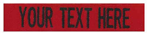 Northern Safari Custom Uniform Name Tapes Solid Colors. Made in The U.S.A. Ships Under 24 Hours. Red Fabric, 5 Inch Sew on