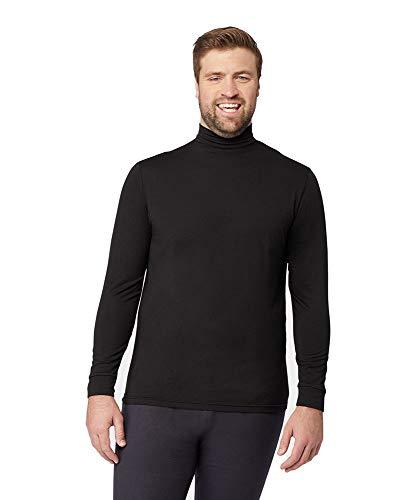 Mens Light-Weight Baselayer Mock Neck Top, Black, Size Medium