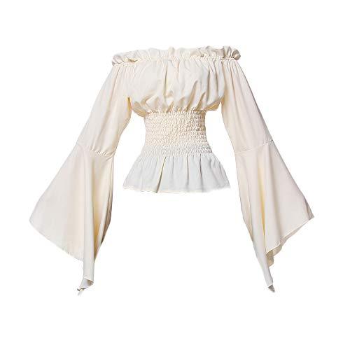 NSPSTT Women Renaissance Medieval Blouse Pirate Peasant Costume Gothic Ruffle Off Shoulder Tops Outfits(Medium) Cream