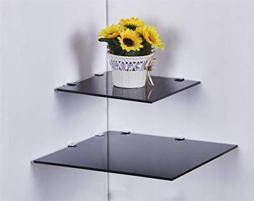 EuroFiestas Estantería esquinera Cuadrada de Cristal en 3 tamaños 25 I 35 cm en Negro, Blanco o Transparente Cristal Negro 25 cm