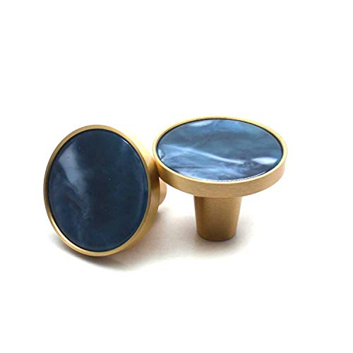 """My MIRONEY 1.26"""" Diameter Brass Cabinet Knobs Round Pull Handle Sky Blue Marble Kitchen Cupboard Dresser Knob for Home Decor Cabinet Drawer Furnitures,2 Pack"""