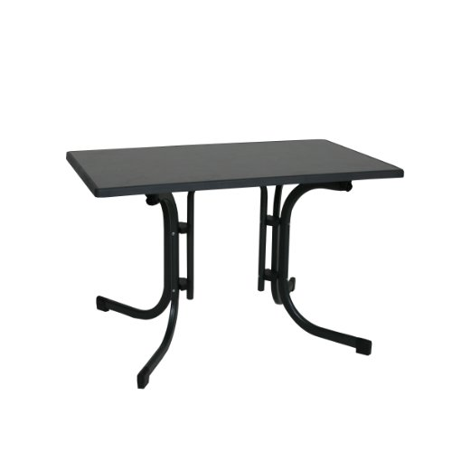 greemotion Table Pliante Gris Anthracite, Table de Jardin Terrasse Balcon pour 4-6 Personnes, Table à Manger 115 x 70 x 70 cm, Table d'Extérieur Réglable en Hauteur