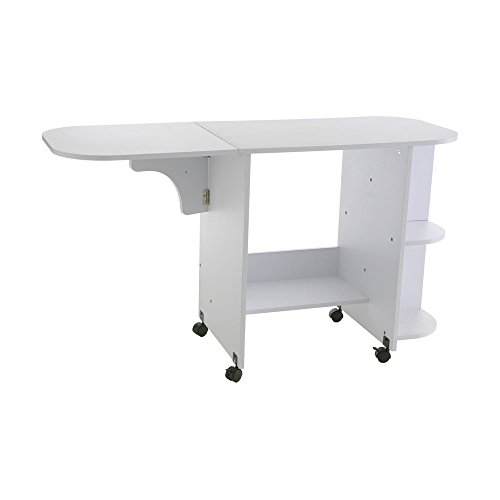 Southern Enterprises Eaton Rolling Craft Station Sewing Table 31.5' Wide, White Finish