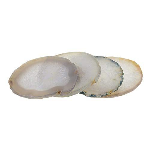 P Prettyia 4 Piezas ágata Natural Pulida, Rodajas De Piedras De Cuarzo, Posavasos, Tapete, Decoración Irregular para Hogar, Colección De Cristales, Adorno,