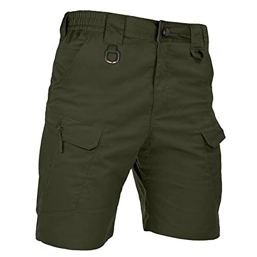 HARD LAND Men's 9.5' Urban Tactical Shorts Waterproof Ripstop Teflon Elastic Waist Cargo Work Shorts Hiking Fishing Od Green Waist36
