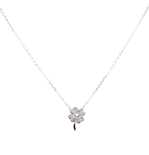 925 Sterling Silver Necklace 4-leaf Clovers Pendant with Micro Zirconia