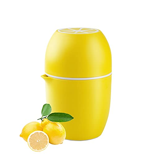 Spremiagrumi Manuale con Design Unico a Forma di Limone,Centrifuga Manuale con due Possibilità di Spremitura per Diversi Tipi di Frutta,Lavabile in Lavastoviglie (Yellow)