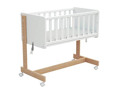 Osann 5in1 Beistellbett Baby mit Rollen, Gitterbett, Stubenwagen, umbaubares Babybett aus Holz mit Matratze - natur weiß