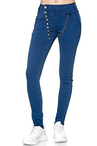 Elara Damen Jeans Boyfriend Baggy Knopfleiste Blau Chunkyrayan EL05-18 Cowboy Blue-40/L