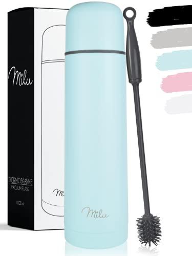 Milu Thermos Caffè Borraccia Termica - 1L, 750ml, 500ml - Termos Bottiglia Acqua per Vuoto in Acciaio Inox per Mantenere Caldo/Freddo (Azzurro, 500 ml)