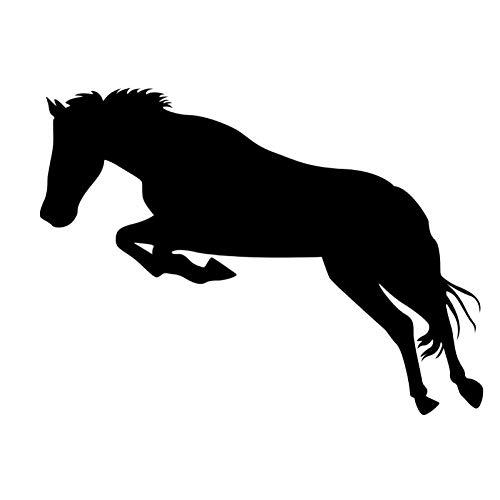 CTMNB Autosticker 15 cm x 11,3 cm Springend paard Interessante autosticker Art en wijze decoratieve auto venster glas aftrekplaatje sticker zwart/zilver