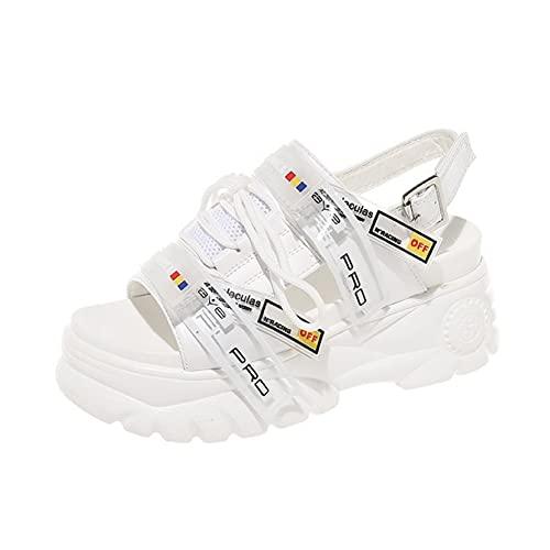 Sandalias de plataforma para mujer, cómodas, con puntera abierta, con gancho plano y correa al tobillo, zapatos de tacón alto, color Blanco, talla 37.5 EU