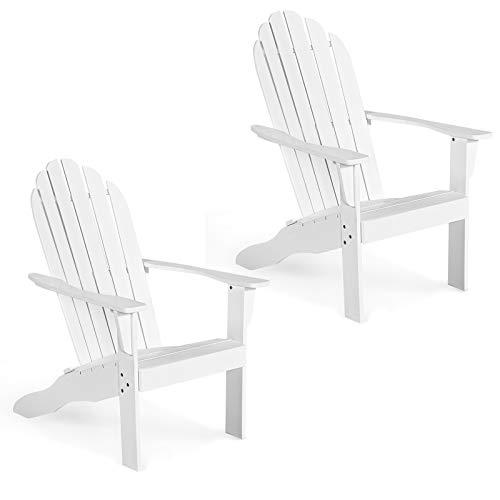 Giantex Adirondack Chair Outdoor Wooden W/Ergonomic Design Acacia Chair for Yard, Patio, Garden, Poolside and Balcony Adirondack Deck Lounge Chair Armchair (2, White)