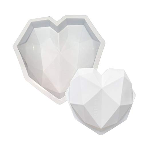ZGHYBD 3D Silicone Diamond Heart Chocolate Mold Love Heart Shape Dessert Tools Heart Shaped Cake Mould Baking Tray Mould for Valentine's Day (White)
